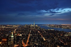 Blue hour in Lower Manhattan (Arnzazu Vel) Tags: nyc panorama usa newyork skyline night cityscape view manhattan nocturna empirestatebuilding bluehour lowermanhattan oneworldtradecenter