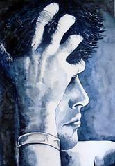 Thinking, by Ademar - DSC02923 (Dona Mincia) Tags: portrait man male art watercolor painting hair hand arte head retrato study thinking homem mo cabea cabelo jovem pintura pensando aquarela rapaz papper