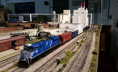 CITX 140 with CSX Q453 Mixed Freight (brickbuilder711) Tags: railroad scale model power florida miami group trains ho foreign lease csx cit emd fec citx sd70m2 goldcoastrailroadmuseum gcrm