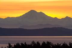 Sun Rising Behind Baker (C McCann) Tags: ocean morning canada sunrise dawn volcano early mt baker bc pacific britishcolumbia victoria vancouverisland cascades westcoast daybreak saanich tolmie harostrait