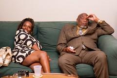 (heatherbirdtx) Tags: portrait woman man color couple eyecontact expression interior flash bodylanguage suit sofa cameras spontaneous unplanned weddingguests demeanor
