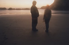 Zak and Laura 2, Seal Rock 2015 (Sara J. Lynch) Tags: ocean park sunset sea sky people lynch laura beach water rock oregon j coast sand rocks sara waves state silhouettes rocky seal headlands zak