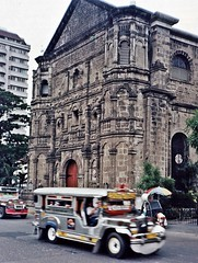 Manila - Malate Church & Jeepneys 1996 (zorro1945) Tags: church asia philippines religion transport 1996 manila malate asie baroque catholicism luzon jeepneys filipinos malatechurch augustinian baroquearchitecture baroquechurch philippineislands spanishmanila trefoilarches solomoniccolumns