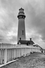 Pigeon Point in Black and White (rschnaible) Tags: ocean california county light bw usa lighthouse white house black west building architecture work fence point photography coast us san tour pacific outdoor pigeon sightseeing monotone tourist coastal transportation western production mateo