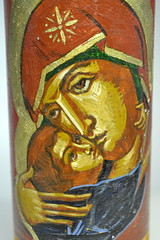 DSC_0864 (Mike Quirke Icon Art) Tags: candle mary icon virginmary motherandchild ourlady baptismalcandle motherofmercy virginoftenderness eleusaicon