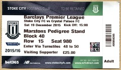 Stoke City v Crystal Palace ticket (2015) (The Wright Archive) Tags: city season football december crystal saturday ticket palace match premier stoke 19 league versus 2015 cpfc scfc 201516