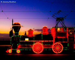 Sunset Train (JKmedia) Tags: street sky lamp festival night lights colours power transport illuminations artificial celebration electricity manmade handheld vehicle annual colourful blackpool powered 2015 canoneos7d boultonphotography