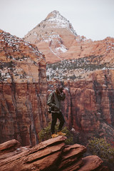 Garin x Zion (kylesipple) Tags: winter red portrait southwest rock landscape utah zion zionnationalpark redrock vsco campvibes