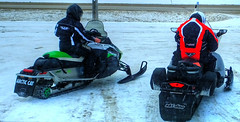 Sleds at The Timberline Restaurant in Richer, Manitoba 2 (ezigarlick) Tags: winter snow canada restaurant diner manitoba snowmobiles arcticcat sleds skidoo richer timberlinerestaurant