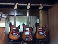 Three Fenders (Lox Pix) Tags: lox loxpix guitar collection bass mandolin fender gibson yamaha ibanez rickenbacker vintage beatle violin shape kent sleekline bowhunter trump squier stratocaster telecaster hofner loxwerx l0xpix