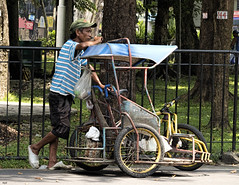 Lookout (Beegee49) Tags: city man tricycle philippines watching bacolod rider pedicab