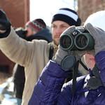 A professor in the tweetspeak cluster using her binoculars