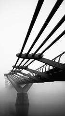 Fog Over The Millennium Bridge, London (Lenscap67) Tags: city uk bridge england blackandwhite london monochrome weather fog thames river four lumix mono britain capital foggy millennium panasonic micro thirds m43 adverse lenscap67