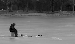 Guy Fishin' at Herrick Lake. 1 (EOS) (Mega-Magpie) Tags: people bw usa white lake man black guy ice nature america canon outdoors person eos illinois fishing outdoor dupage dude il wheaton herrick 60d