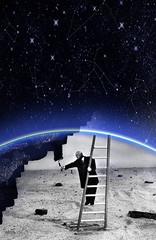 Peindre le ciel (JSEBOUVI : thanks for 1.9 million views !) Tags: blue light sky white man black azul stairs painting stars sand paint noir pattern earth trace sable brush peinture ciel ceu toiles chelle pinceau voielacte