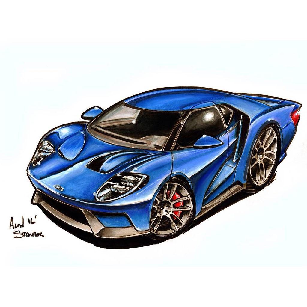 Ford Fordgt Illustration Drawing Carart Cartoon Sportscar Ford Gt