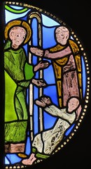 'St Benedict Healing a Child', stained glass, c1140, Saint-Denis, France - V&A museum, London (edk7) Tags: uk england paris france london art glass artwork panel painted medieval stained va victoriaandalbertmuseum brompton southkensington saintdenis 2013 basiliquedesaintdenis royalboroughofkensingtonandchelsea abbeychurch cromwellgardens c1140 nikond300 abbayedesaintdenis edk7 nikonnikkor18200mm13556gedifafsvrdx stbenedicthealingachild