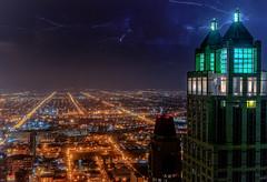 Last Night EXPLORED 3/17/16 (jnhPhoto) Tags: sky chicago storm night buildings lights nikon nightlights nightscape lightning electrical d700 jnhphoto