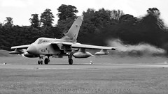 RAF Tornado Departing Fairford. (spencer_wilmot) Tags: blackandwhite monochrome plane airplane fighter aircraft aviation jet airshow tornado departure takeoff runway 003 raf tonka ffd militaryaviation fairford riat royalinternationalairtattoo royalairforce gr4a egva za369 xiiisquadron no13squadron
