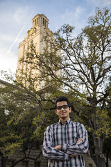 Hussain I (KamrenB Photography) Tags: trees portrait tower nature leaves bells canon austin outside outdoors person photography golden photo education university shoot texas arms bokeh tx united capital hour session folded states plaid learn institution 6d kamgtr kamrenb