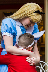 Alice Hugging Mr. White Rabbit (EatThisLight) Tags: california street boy usa cute costume kid hug mainstreet child alice disneyland character main adorable disney anaheim wonderland themepark aliceinwonderland whiterabbit disneylandcharactersdisneyparade