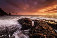 Start my year (Caramad) Tags: light sea espaa seascape luz sunrise landscape mar agua rocks wave playa colores amanecer olas rocas cantabria wate cargadero marcantbrico mioo
