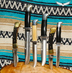 Buck Knife Collection (R. Sawdon Photography) Tags: steel knife blade knives 105 buck brass sharpe buckknives pathfinger 420hc buckspecial foldinghunterfingergroove buckgeneral foldinghunter110