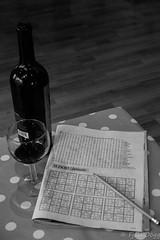 Sudoku & wine ... (Fjola Dogg) Tags: bw canon iceland spring europe wine pad sudoku redwine sland pensil 2016 evropa glassofwine svarthvt md evrpa fjoladogg fjladgg canonpowershotg7x canong7x padfjoladogg mdfjoladogg