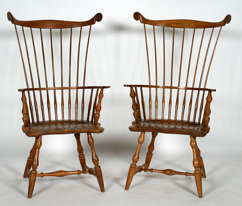 Virginia Craftsman High Back Windsor Arm Chairs - $825.00