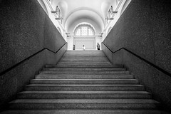 Look Down on Me x 3 (Ben at St. Louis Energized) Tags: city people urban blackandwhite art monochrome stairs contrast stl forestpark stlouisartmuseum