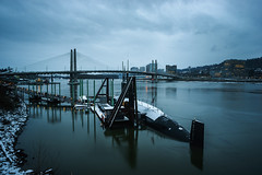 blue fin in snow (sebboh) Tags: snow oregon portland downtown cityscape pdx willametteriver omsi sonya7 rokkormd24mmf28