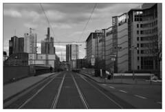 Urban Scalextric track (Ghost Hunter Frankfurt) Tags: bw skyscraper frankfurt tramlines