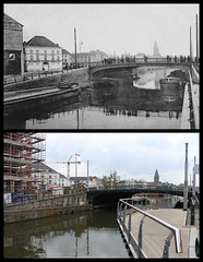 Sint-Jorisbrug, Ghent (Tetramesh) Tags: belgium belgique belgie belgi ghent gent gand flanders thenandnow belgien belgio nowandthen blgica localhistory gwladbelg vlaanderen pastandpresent oostvlaanderen belgia leiestreek blgica oudefotos eastflanders belga belika belgicko beija belgija belgjik belju blxica anbheilg sintjoriskaai  tetramesh b toennu  deleie riverleie   joremaaie belgiinoudefotos belgiuminoldphotos ubelgiji sintjorisbrug delagelandentoennu