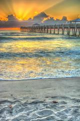 Juno Pier (JLoyacano) Tags: ocean sunset sun beach sunrise pier sand florida jupiter juno junobeach junopier jacobloyacano