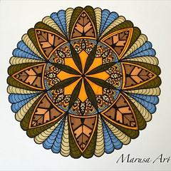 Zendala (marusaart) Tags: blue original brown flower green art illustration sketch artist handmade drawing mandala doodle ornament zen marker draw copic zeichnung geometrie zendala marusaart