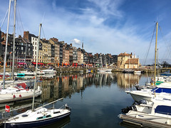 colour, reflections, water, textured clouds, iPhone photo of the Vieux Bassin, Old Harbour, Honfleur, Normandy, France (grumpybaldprof) Tags: old vacation holiday distortion france colour reflection texture apple monument water stone architecture clouds port buildings reflections boats lights town spring ancient bars sailing harbour ships sails restaurants historic mooring normandie honfleur yachts picturesque normandy quai halftimbered iphone waterreflections springafternoon collombage quarantaine phonecamerasky quaistecatherine quaistetienne lalieutenance oldharbour vieuxbassin quaiquarantaine