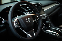 steering wheel [Day 2665] (brianjmatis) Tags: car honda cabin cockpit automotive photoaday civic steeringwheel project365