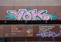 graffiti on freights (wojofoto) Tags: holland amsterdam graffiti yok nederland netherland freighttrain cargotrain freighttraingraffiti wolfgangjosten wojofoto vrachttrein