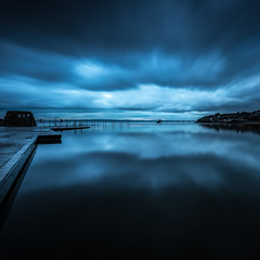 Stormy Reflections (~g@ry~ (clevedon-clarks)) Tags: blue lake seascape storm clouds reflections landscape coast victorian coastal bluehour marinelake clevedon northsomerset cloudreflections clevedonpier moodyclouds cloudmovement lightreflections