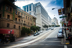 A Bit Steep - Explored (DobingDesign) Tags: sanfrancisco california road sky usa building cars lines architecture buildings trafficlight outdoor hill perspective streetphotography shops streetsigns trafficsigns steep grantavenue