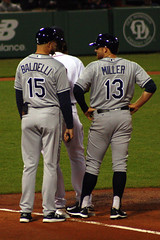 Nice to see you, Rocco (ConfessionalPoet) Tags: baseball ss redsox bradmiller shortstop firstbase baserunner roccobaldelli firstbasecoach tampabayrays