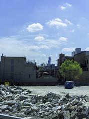 Bloomingdale Trail east pic10 4-25-2016 (Artemortifica) Tags: street bridge sky chicago cars clouds buildings construction blueline crane bikes graffity milwaukee western trucks damen
