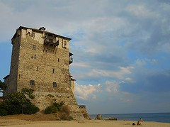 The Byzantine tower at Ouranoupolis, Greece /      (Ath76) Tags: sea mountain tower beach monument architecture europe mediterranean torre hellas holy greece macedonia grecia griechenland byzantine grece athos makedonien byzantium yunanistan macedon grekland chalkidike mazedonien macedoine chalcidice