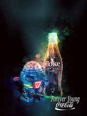 02468754-72-Coca Cola Forever Young-1 (Jim would like to get on Explore this year) Tags: color art advertising poster toy robot child drink bubbles cocacola cokebottles