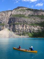 Canoeing (sulkyghrafer) Tags: blue lake canada sport lac canoe bleu alberta moraine