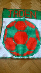 Portugal colours football blanket for Jaden (dochol) Tags: cute wool ball football handmade soccer name crochet craft yarn blanket afghan alphabet manta personalised croche portgual crochethooks haakenwert
