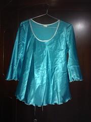 home pyjamas for sale (Fifi Luvly) Tags: shiny satin pyjamas silky torquoise