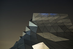 Confluences (vincent abric) Tags: city sky urban abstract architecture night triangles nightshot lyon mesh muse minimal confluence