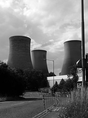 The Three Towers (mdavidford) Tags: blackandwhite industrial power towers electricity trio soot generation didcot chimneys coolingtowers hyperbolic accessroad didcotpowerstation didcota didcotasouth