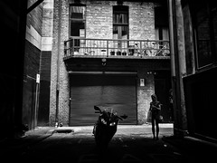 the beauty and the beast (Yiannis Yiasaris) Tags: city people blackandwhite monochrome streetphotography australia melbourne pancake 16mm ultrawideangle sonya6000